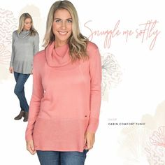Fire Side Feels ❤   #REFRESH💖 Cabin Comfort Tunic Sizes: XS, S, M, L, XL, 2XL Presale: $79.99 (Retail $85.00) Colours: Light Grey Melange, Isle of Pink Brand: Tom Tailor  Cowell neck with weaved detailing, eyelet detailing, 4'' weaved detailing on sleeves, 8'' weaved detailing on bottom hem, 7'' dual side slits, soft lightweight material with stretch