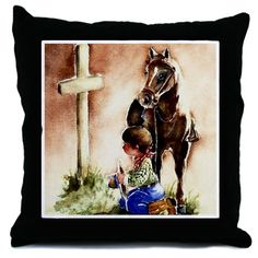 Cowboy praying Throw Pillow