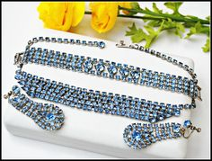 Blue Rhinestone  Necklace Bracelet and by serendipitytreasure