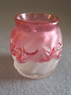 """EAPG - Northwood Frosted Rubina """"Royal Ivy"""" Pattern Toothpick Holder"""