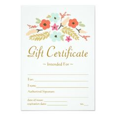 flower bouquet gift certificate card - Makeup Gift Certificate Template