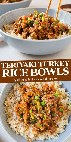 Teriyaki Turkey Rice Bowls have a sweet homemade teriyaki sauce and tons of veggies. Customize with your favorites and serve for dinner over steamed rice. Also great for meal planning! dinner for two Teriyaki Turkey Rice Bowls Healthy Turkey Recipes, Turkey Burger Recipes, Healthy Turkey Chili, Healthy Brown Rice Recipes, Healthy Turkey Meatballs, Super Food Recipes, Healthy Cooking Recipes, Healthy Mexican Food, Recipies Healthy
