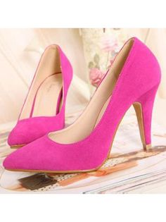 Pointed Toe Suede Peach Red High Heels