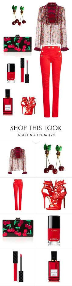 """Cherries!"" by valelondon ❤ liked on Polyvore featuring Anna Sui, Chanel, Balmain, Giuseppe Zanotti, Edie Parker, Gucci and Diana Vreeland Parfums"