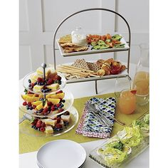 Cambridge 2-Tier Server with Plates   Crate and Barrel