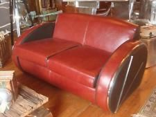 Leather & Chrome 2 Seater Sofa - Art Deco / Streamlined Modern - 1930s Styling