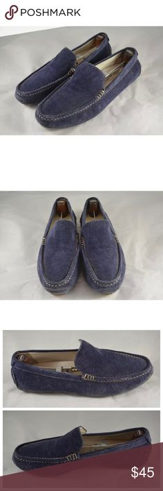 COLE HAAN Men's Blue Suede Slip On Loafer Shoes! Used condition! Pictures are of actual product. Please ask any questions before purchasing! Size 9. Used, but you can still get a lot of use out of them! Blue suede with cream colored stitching & brown rubber bottom! Known for comfort! Retail for $165. Offers welcome. Cole Haan Shoes Loafers & Slip-Ons