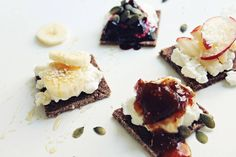 Pura Vida sprouted raw banana bread with cream cheese (any of the dairy-free 'cheese' varieties can be used for a vegan option), fig or cherry jam, coconut cream, bananas and pumpkin seeds!