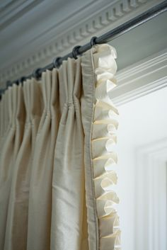 Beautiful interlined silk panels with box pleat ruffle and welting on leading edge - Window Treatment Ideas - Ruffle Curtains, Curtains With Blinds, Panel Curtains, Ruffle Trim, Valances, Ruffles, Curtain Styles, Curtain Designs, Custom Window Treatments