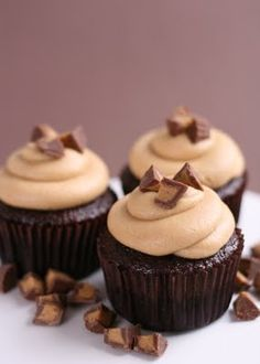 chocolate peanut butter cupcakes via @glorioustreats.  Two of my favorite things