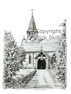 Bucknell church st Marys pen drawing greeting card