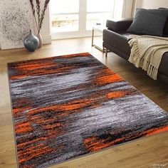 "Orange Allstar Modern. Contemporary Woven Rug. Drop-Stitch Weave Technique. Carved Effect. Vivid Pop Colors (7' 10"" x 10') - 18598542 - Overstock.com Shopping - Great Deals on 7x9 - 10x14 Rugs"
