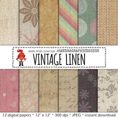 "New to SandraGraphicDesign on Etsy: Linen digital paper: ""VINTAGE LINEN"" linen textures linen backgrounds rustic digital papers vintage digital paper (1104) (3.75 USD)"