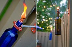 DYI - Wine Bottle Torches. I want these for my back yard! They are cool. Maybe I will use liquor bottles instead :)