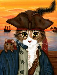 Captain Leo : Pirate Cat Rat Ship Sunset Painting at ArtistRising.com