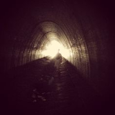 Hiking through tunnel
