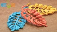 Crochet Leaf Tall Stitches Tutorial 28 Part 2 of 2 Crochet Volumetric Branches. These free crochet video instruction will help you to complete this beautiful leaf. We continue to crochet arches above each post on the leaf Crochet Leaves, Crochet Motifs, Knitted Flowers, Crochet Flower Patterns, Freeform Crochet, Irish Crochet, Crochet Designs, Crochet Stitches, Knit Crochet