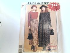 McCall's Pattern P341 Misses' Loose Fitting Modest Dress Szs 8 10 12 14 Peasant  #McCalls
