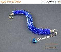 ON SALE Free Shipping Bead crochet rope Bracelet  by SzkatulkaAmi