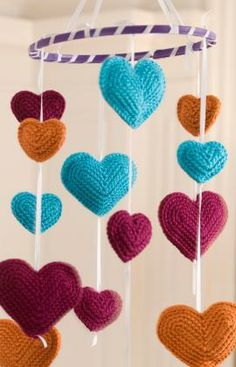Flying Hearts Mobile Free Crochet Pattern from Red Heart Yarns