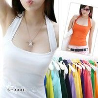 Wish | Sexy Fashion Women's Halter Neck Low Cut Tight Vest Shirt Tank Tee Cami Backless Top