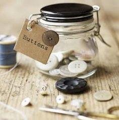 button jars, button organizing, neat method, home organizing