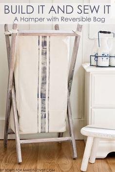 :: build for recycling in woodshed DIY Foldable Wood Hamper.with Reversible Bag Insert (tutorials for both).no more hiding your baskets in the closet! --- Make It and Love It Wood Hamper, Wood Laundry Hamper, Laundry Room, Laundry Cart, Laundry Closet, Small Laundry, Make Your Own Hamper, Fabric Storage Baskets, Diy Storage