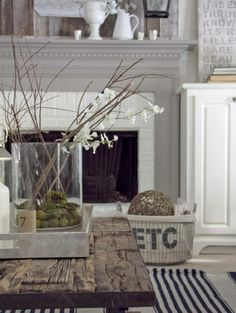 Classic Gray & White Living Room - Note the Marrying of the Cabinet with the Mantle
