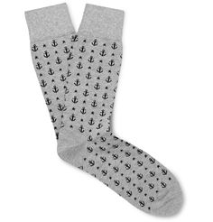 Corgi - Anchor-Patterned Cotton-Blend Socks