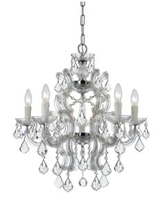 Crystorama Maria Theresa Six-Light Swarovski Crystal Chrome Chandelier, Clear