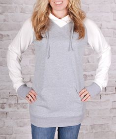 Look at this Olivia & Jane Heather Gray & Ivory Raglan Hooded Tunic on #zulily today!
