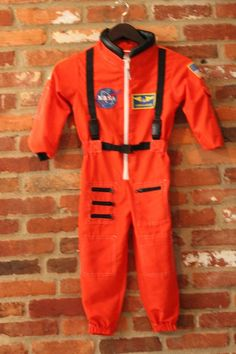 Orange Jumpsuit Space Shuttle NASA Astronaut Costume Kids Size 4 - 6 Halloween #GetRealGearDressUpforKids #CompleteOutfit