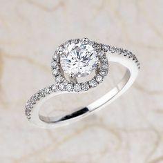 14k White Gold Diamond Halo Engagement Ring Center is 6.5mm FB Moissanite
