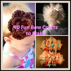 40 Fun Bow Crafts to Make - http://www.bigdiyideas.com/40-fun-bow-crafts-to-make/         (adsbygoogle = window.adsbygoogle    []).push();      What could be sweeter than your little girl all dressed up, complete with a pretty bow in her hair? We thought you'd agree. Even if you are new to bows, you'll be pleased to discover that this is a craft where a...