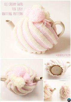 Ice cream swirl tea cozy free knitting pattern - Make an ice cream swirl tea cosy with this free knitting pattern by Handy Little Me. Tea Cosy Knitting Pattern, Tea Cosy Pattern, Free Pattern, Knitting Patterns, Crochet Patterns, Scarf Patterns, Knitting Tutorials, Crochet Fairy, Crochet Home