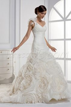 $198.59 Dresswe.comサプライ品劇的なマーメイドワンショルダー床長さのチャペルの列車のウェディングドレス