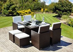 New Rattan Wicker Weave Dining Table Cube Set With Deluxe Flip Back Seats- Conservatory And Outdoor Furniture INCLUDES WATERPROOF COVER WORTH £49.99 (Brown) Abreo http://www.amazon.co.uk/dp/B00K53O3BO/ref=cm_sw_r_pi_dp_7YYwwb1EQZ2QZ