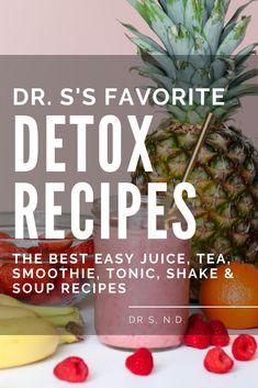 S's favorite detox recipes: The best easy juice tea smoothie tonic shake & soup recipes Detox Tips, Detox Recipes, Soup Recipes, Smoothie Recipes, Bitter Greens, Detoxify Your Body, Detox Program, Detox Soup, Detox Drinks