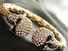Antique Full Rhinestone Skull Ends Exaggerated Gold Bracelet Bangles Cuffs