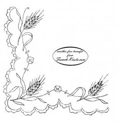 Wheat and Scallops Embroidery Transfer Pattern