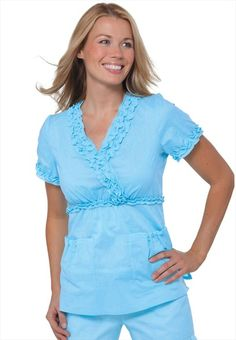 Scrub tops from Koi in solid colors, scrubs for men and women in petite and plus sizes. V-neck and wrap styles are included in this selection of fashion scrubs. Cute Nursing Scrubs, Cute Scrubs, Koi Scrubs, Nursing Clothes, Clearance Scrubs, Scrubs Uniform, Medical Scrubs, Scrub Tops, Work Attire