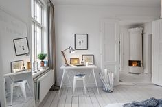 Wow, so much white! I love it! Love the desk and Anglepoise lamp. I think my Acrylic Ghost chair would look fab in here!