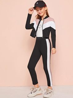 To find out about the Girls Zip Up Color Block Jacket & Leggings Set at SHEIN, part of our latest Girls Two-piece Outfits ready to shop online today! Preteen Girls Fashion, Teenage Girl Outfits, Kids Outfits Girls, Girls Fashion Clothes, Cute Outfits For Kids, Teen Fashion Outfits, Cute Casual Outfits, Stylish Outfits, Girl Fashion