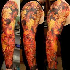 Realistic Autumn Leaves tattoo sleeve