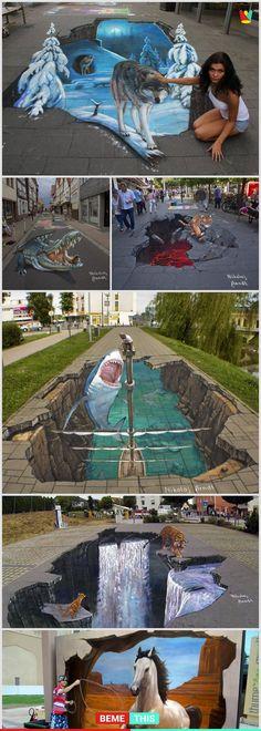 This amazing artist creates incredibly realistic .- Dieser erstaunliche Künstler schafft unglaublich realistische This amazing artist creates incredibly realistic artworks … - Illusion Kunst, Illusion Art, 3d Street Art, Amazing Street Art, Pavement Art, 3d Chalk Art, Urbane Kunst, Sidewalk Chalk Art, 3d Drawings