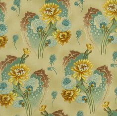 'Maison Bleue' large print yellow, teal & brown dandelions on tan background, by Robyn Pandolph for RJR Fabrics cotton quilting fabric