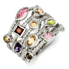 Sterling Silver Colorful Multi-Shape 5 Strand Gemstone Ring