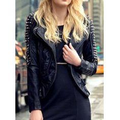 Black Long Sleeve Stand Neck Rivets Design Women's PU Leather Jacket