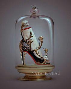 fine art original artwork print Black Magic by Natalie por CryBebe, Samael Angel, The Bell Jar, Bell Jars, Beautiful Fairies, Shoe Art, Art Shoes, Crazy Shoes, Dream Shoes, Glass Domes