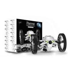 Parrot JUMPING SUMO Biały  Najnowocześniejsza technologia zapewnia bardziej precyzyjne pokonywanie zakrętów, niż jakikolwiek pojazd sterowany radiem. Sterowanie końcami palców. Pokonywanie zakrętów pod kątem 90° do 180° w niecałą sekundę dzięki centrali bezwładnościowej. Parrot Jumping Sumo is a responsive bot with a strong personality which rolls, rushes, zig-zags, circles, takes turns at 90°. In a flash, it leaps up to 80 cm in height! Jumping Sumo has 3 control modes: